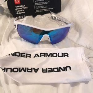 Satin White Blue Multi UnderArmour Sunglasses